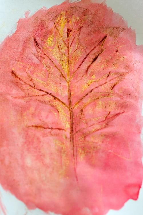 Watercolor Leaf Rubbing