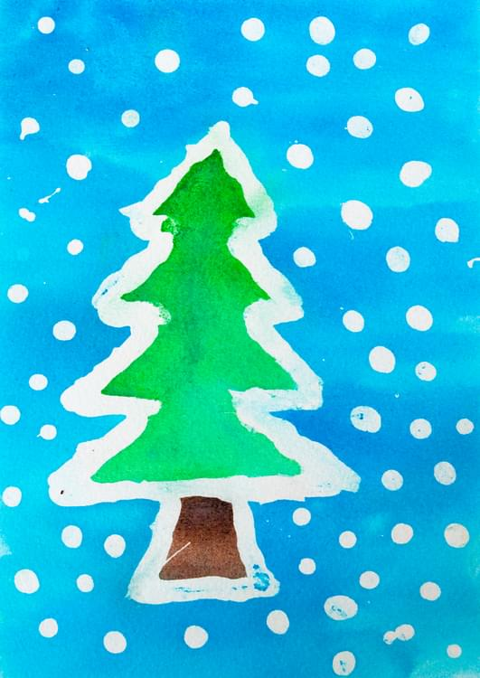 Watercolor Resist Christmas Trees