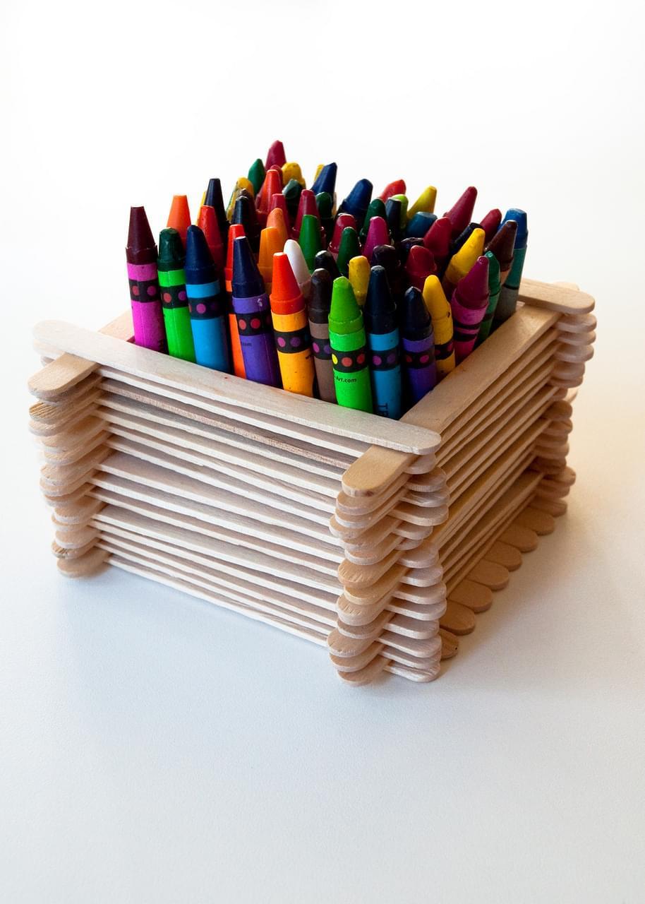 Popsicle Stick Desk Organiser