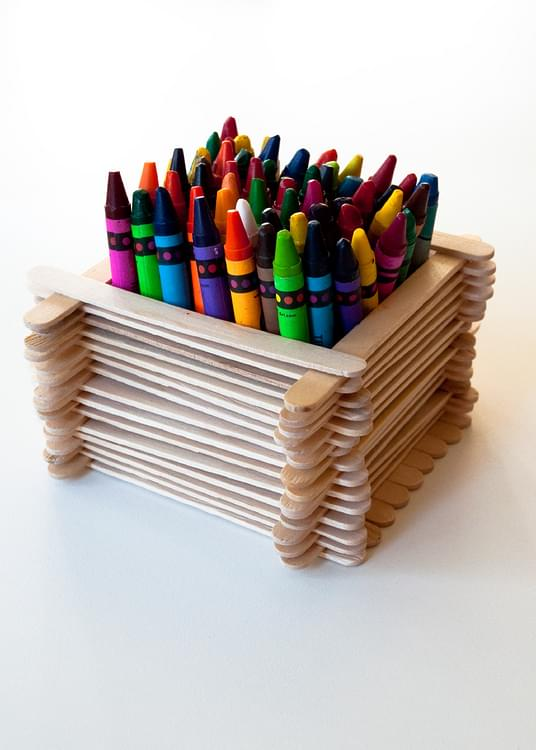 Popsicle Stick Desk Organiser