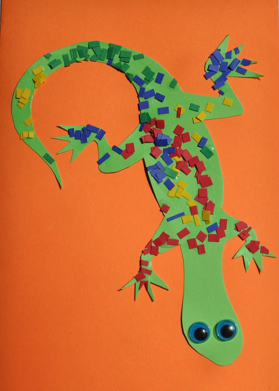 Mosaic Lizard on Desert Worksheets Kindergarten