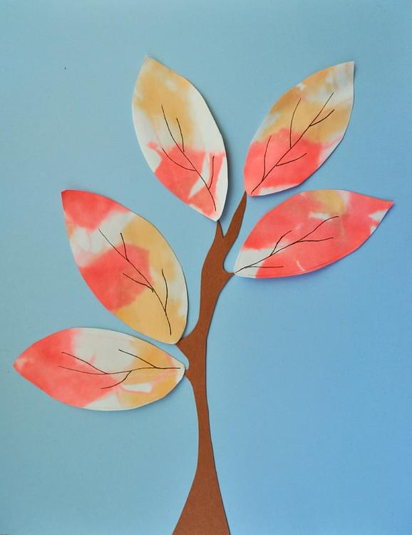 Tissue Paper Painted Fall Leaves