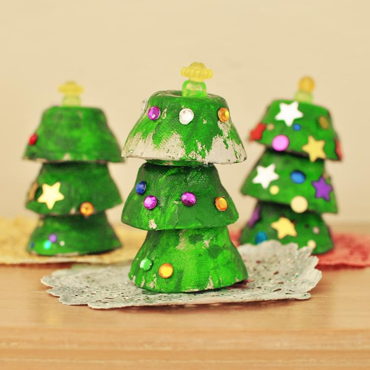 Egg Cup Christmas Trees